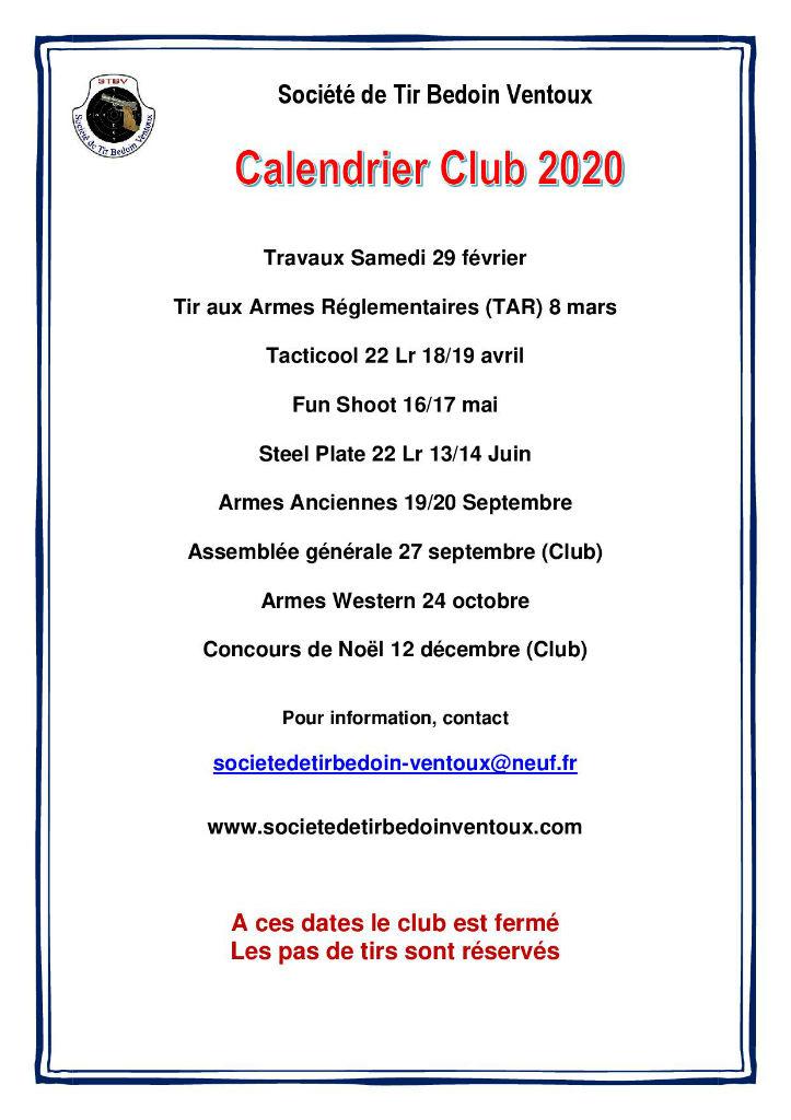 Calendrier club 2020