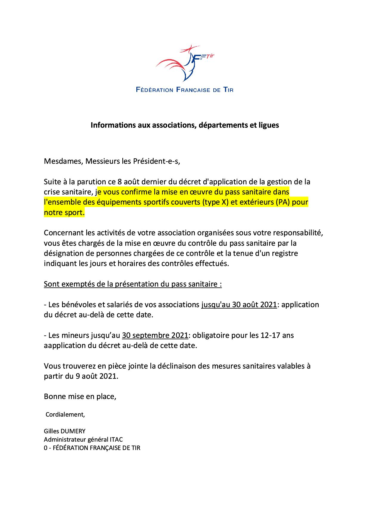 Pass sanitaire 9 aout 2021